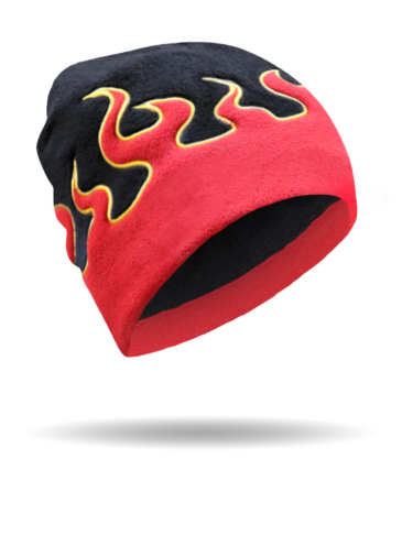 00750-Black-Red-Flame Fleece-Beanie