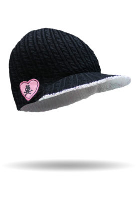 8882-Black-Reversible Patched Brimmed Beanie