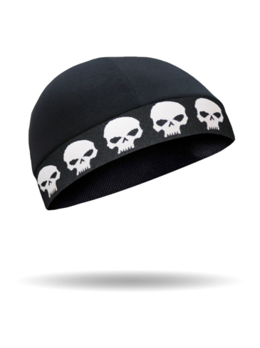 CMCC03-Skull Cap-White Skull on Black