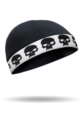 CMCC04-Skull Cap-Black Skull On White Cool Cap