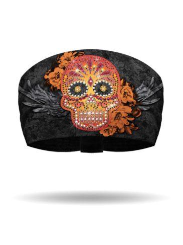 KB1312-Orange-Candy Skull Knotty Band