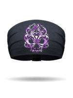 KB1611-PurpleOmbre-EmbroideredBaroqueSkull-Knotty Band
