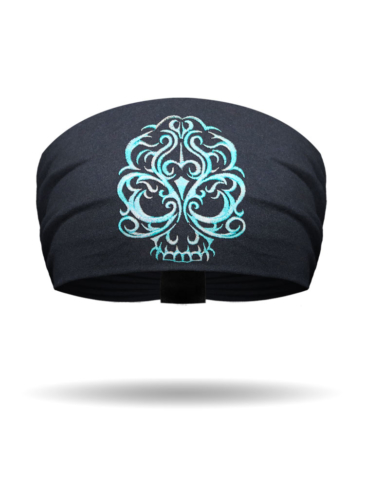 KB1613-TurquoiseOmbre-EmbroideredBaroqueSkull Knotty Band