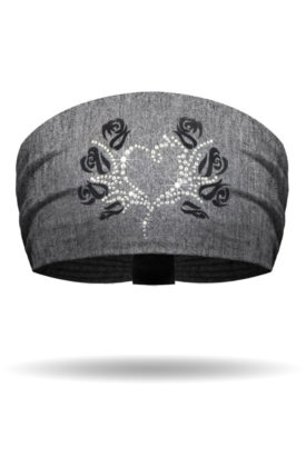 KB1620-Flocked Black Rose Bling on GREY Knotty Band