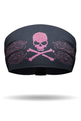 KB2621-Pink Glitter Skull Flames-Knotty Band