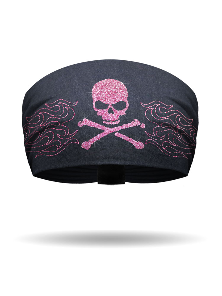 Pink Glitter Flames Amp Skull Amp Crossbones Knotty Band