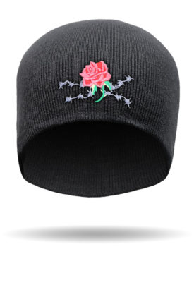ROSEBB-Embroidered Gypsy Rose & Barbed Wire Beanie