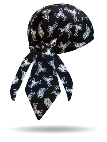HW1293-Silver-Holographic Butterfly-Headwraps