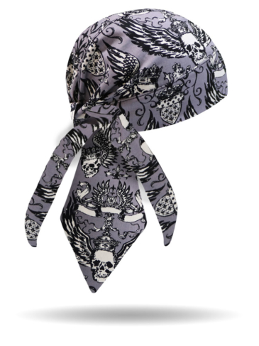 HW2813-Winged Skulls-Headwrap