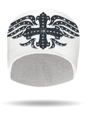 B2320-White-Mystique Black Cross Knit Beanie