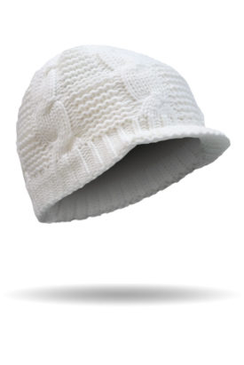 B3019-White-Cable Knit Beanie with Fleece Headband