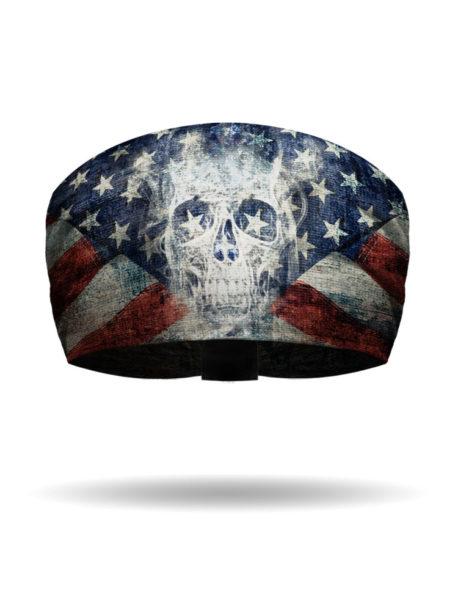 KB2614-Patriotic Ghost Skull-Knotty Band Headband
