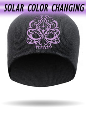 B1225-Purple-Solar Color Changing Embroidered Skull