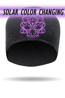 B1225-Purple-Solar Color Changing Embroidered Skull-Beanie