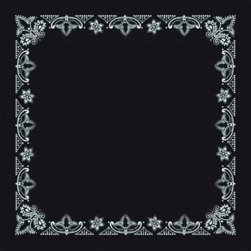 BANDANA-Black with White Border