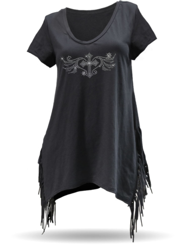 WT0685-3319 Fringed Short Sleeve Top-Winged Pewter Cross