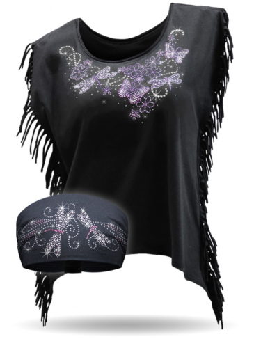 COMBO-Dragonfly Swirl-Dragonfly-Butterfly-Bling Fringe Shirt
