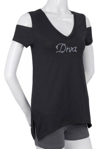 Diva-Black-CutoutSleevesShirt