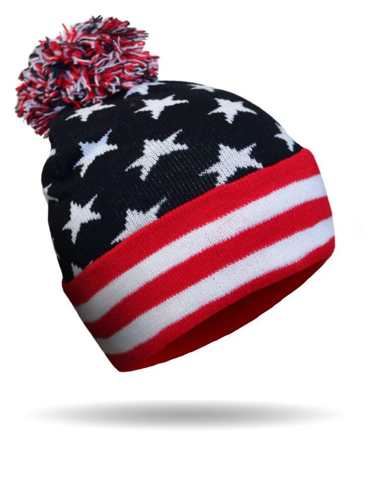 USA Pom Pom Beanie  68958a4c5