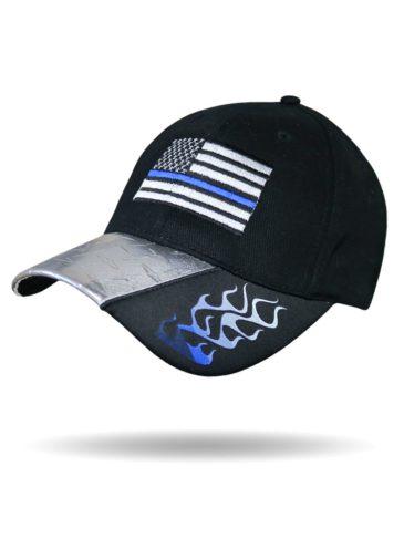 BC3028-Blue Blue Line Flames-Baseball Cap