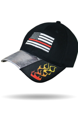BC3028-Blue Red Line Flames-Baseball Cap