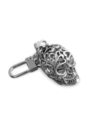 CO2913-Scroll Cut Skull-Zipper-Pull Key Chain Clip On