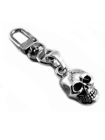 CO2921-Skully-Zipper-Pull-Key Chain Clip-On