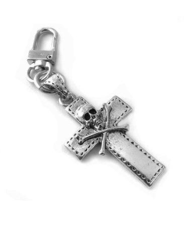 CO2922-Skull Cross-Zipper-Pull Clip On