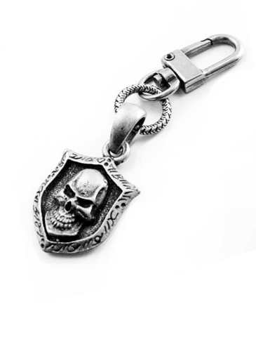 CO2923-Skull Crest Shield-Zipper-Pull-Key Chain Clip-On