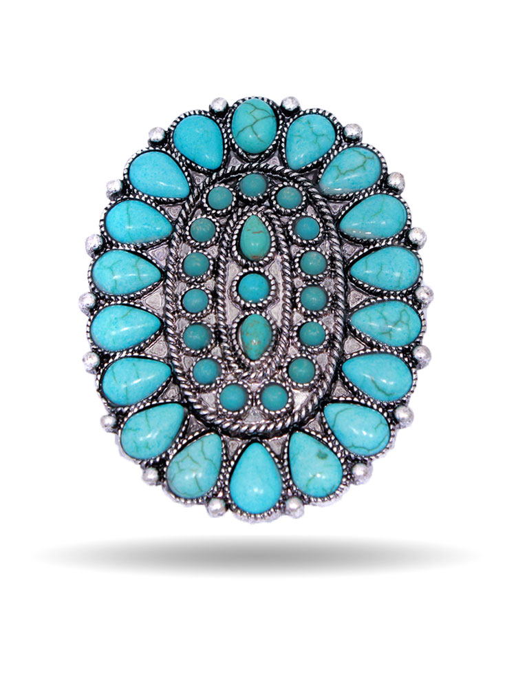 Southwestern Turquoise Oval Concho Phone Kickstand