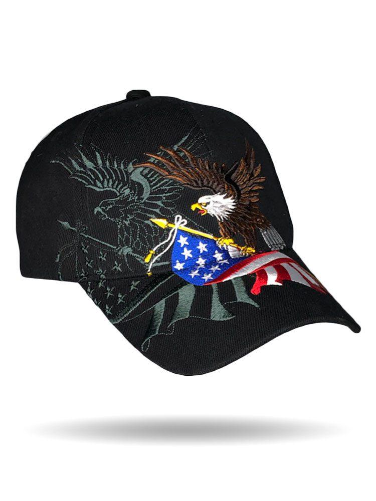 Eagle Holding Flag Baseball Cap