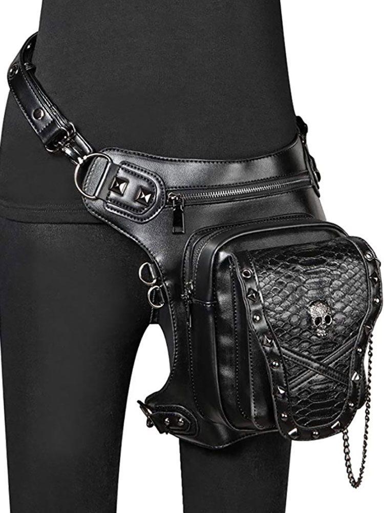 Studs & Chain Skull Thigh Bag