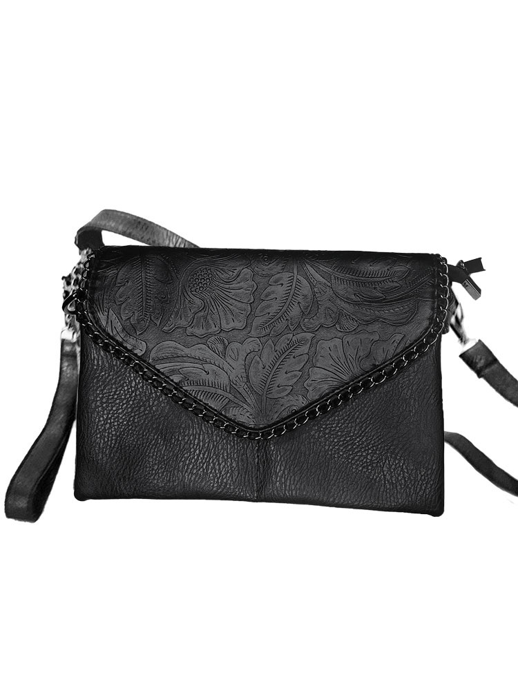 Tooled Leather Envelope Clutch